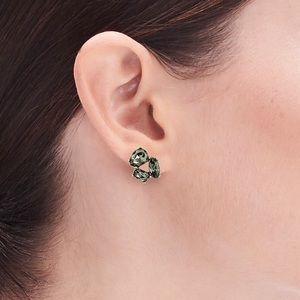 NWT J CREW Grey Crystal trio earrings